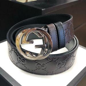 Gucci GG Reversible Brown/Black Men's Belt Size 40